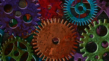 fogaskerék : Colorful Rusty Mechanical Gear Parts Rotating and Moving on Grunge Texture Background with Lighting and Shadows 1920x1080