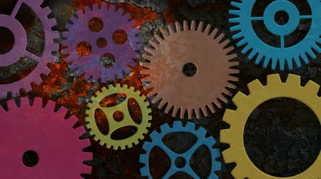fogaskerék : Mechanical Gears Movement on Rusty Grunge Texture Background 1920x1080