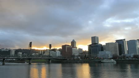 north america : Portland Oregon Downtown City Skyline with Moving Clouds and Sunrays Time Lapse 1920x1080
