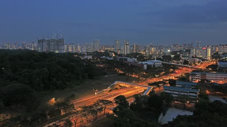 čas : Singapore Public Housing Development and Freeway Light Trails in Queenstown at Blue Hour Time Lapse 1920x1080