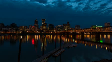 kano : Portland Oregon City Skyline and Hawthorne Bridge along Willamette River with Water Reflection at Blue Hour Time Lapse 1080p