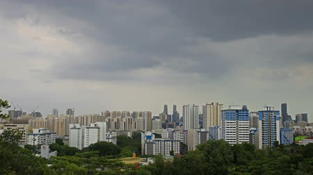 bydlení : View of Planned Public Housing HDB Apartment Flats and Condominiums Buildings in Telok Blangah District in Singapore Moving Clouds Time Lapse from Henderson Wave Bridge 1920x1080