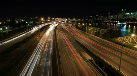 united states : Rush Hour Interstate Freeway Traffic Long Exposure Light Trails in Downtown Portland Oregon with City Skyline Time Lapse 1920x1080