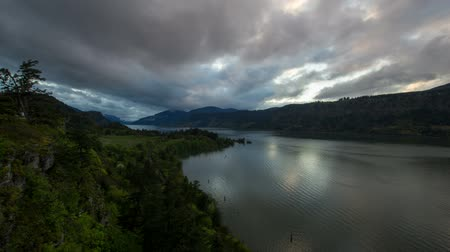 north america : Columbia River Gorge at Hood River Oregon Scenic View During Sunset with Fast Moving Stormy Clouds Time Lapse 1920x1080
