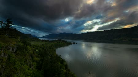 ravina : Columbia River Gorge at Hood River Oregon Scenic View During Sunset with Fast Moving Stormy Colorful Clouds from Ruthton Park Time Lapse 1080p