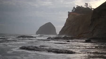 düşük : Movie of Crashing Waves with Cloudy Sky and Sandy Beach in Cape Kiwanda along Pacific Ocean in Pacific City Oregon Closeup 1080p