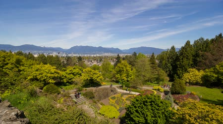 lombhullató : Time Lapse Movie of Moving White Clouds Blue Sky and People in Queen Elizabeth Park in Vancouver BC British Columbia Canada One Sunny Spring Day 1920x1080