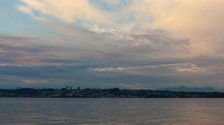 Timelapse of clouds and sky over White Rock BC Canada from Semiahmoo Bay in Blaine, Washington at sunset 4k uhd