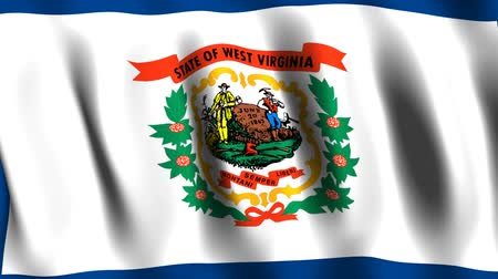 batı : West Virginia Animated Flag Stok Video