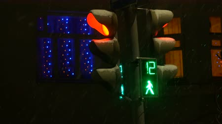 Traffic lights switch from red to green at night, in