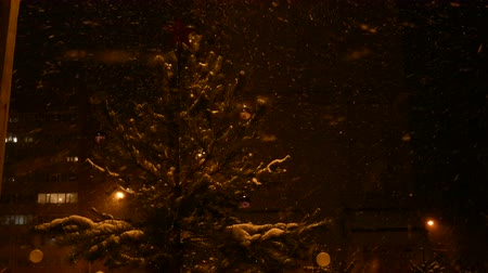 decorated Christmas tree stands on the street at night, in a snowfall, a red star on the top of the head Dostupné videozáznamy