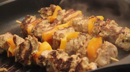Pork skewer kebab on stove top grill