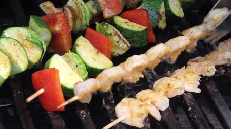 kebab : delicious grilled shrimps and veggies kebab skewers