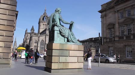 philosopher : Monument of Scottish philosopher David Hume on Edinburghs Royal Mile, Scotland