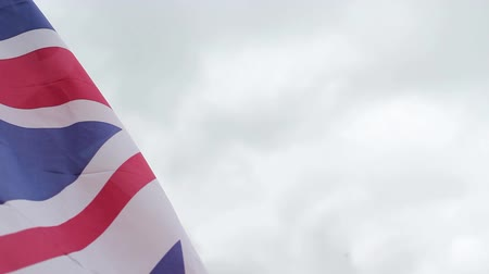 büyük britanya : British flag in the wind, close up HD footage Stok Video