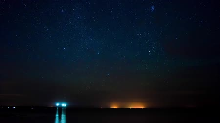 astro : Time lapse of the starry sky over Dzharylgachsky bay. Kherson region, Ukraine.