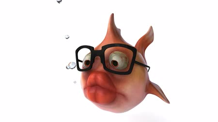 karikatury : goldfish with glasses
