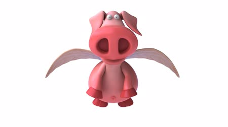 caráter : pink pig flying forward Vídeos