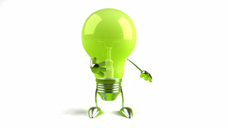 idea : green bowing light bulb Stock Footage