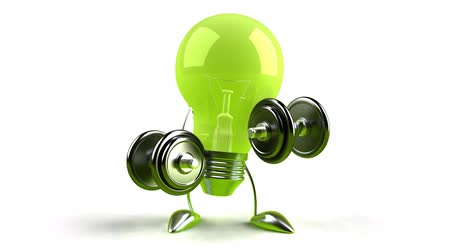 žárovky : green light bulb with dumbbells