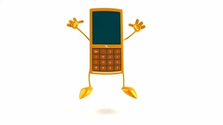 karikatury : jumping yellow mobile phone