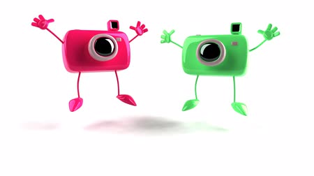 animação : jumping pink and green camera characters