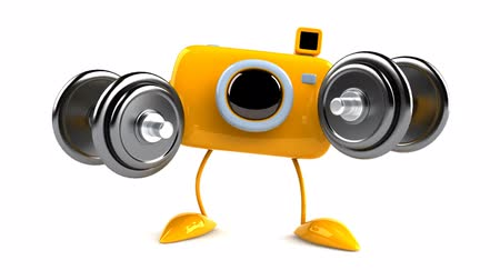 animação : yellow camera with dumbbells Stock Footage