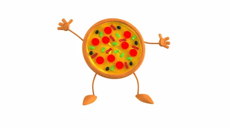 мультфильмы : Jumping pizza character
