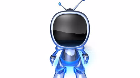 automatizálás : animcated robot television over white background