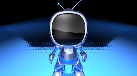automatizálás : animated robot television over dark background