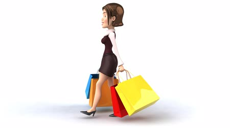 мультфильмы : Shopping Bag Woman Стоковые видеозаписи