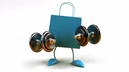 imagem digital gerada : animated shopping bag with dumbbells