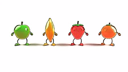 frutos : brillante y brillante baile de frutas Archivo de Video
