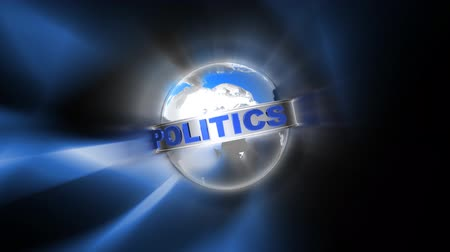 político : shiny globe with the word politics