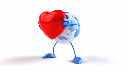 любовь : World globe hugging a heart