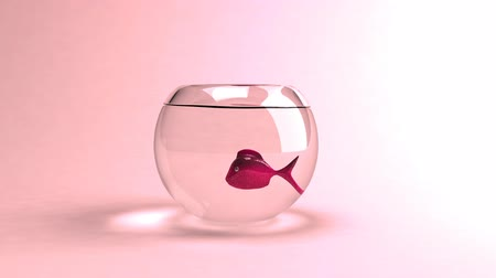 animais : Red fish over light pink background