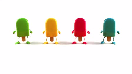 ananas : colorful popsicle dancing happily