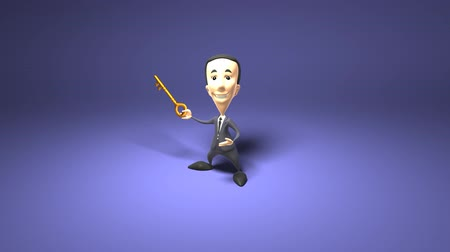 karikatury : Man in business suit holding a key over dark background