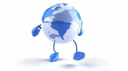 toon : 3D world globe walking Stock Footage