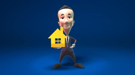 karikatury : business man holding yellow house isolated over dark background