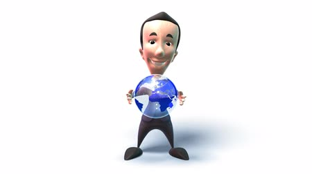 karikatury : business man holding the world in his hands isolated over white background
