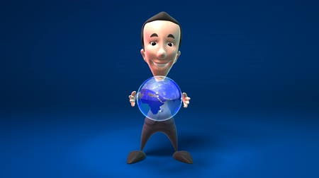 caráter : business man holding the world in his hands isolated over dark background