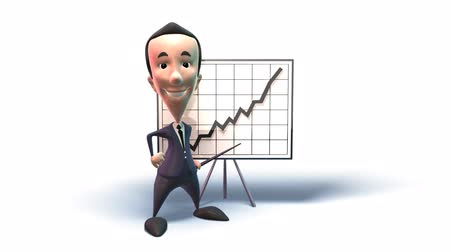 beyaz etnisite : business man pointing to a chart isolated over white background