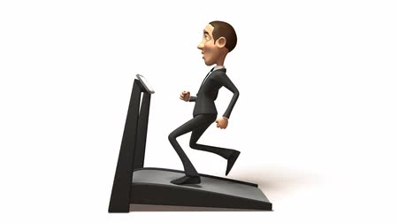 мультфильмы : 3d business man running on threadmill isolated on white
