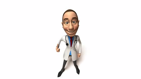 мультфильмы : 3d Toon Guy Doctor Стоковые видеозаписи
