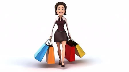 karikatury : Girl walking with shopping bags