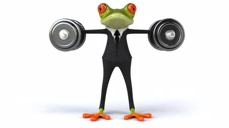 žába : Frog character in business suit lifting dumbbells