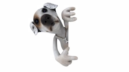 pointing dogs : Cartoon puppy pointing to a signboard