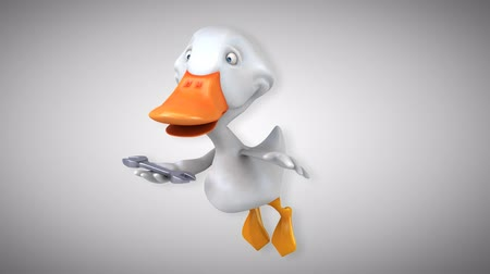 csavarkulcs : Cartoon flying duck with a wrench Stock mozgókép