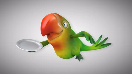 bird species : Cartoon parrot flying with a tray